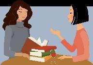 Women talking at a book club