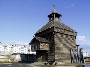 A replica of a 17th century Russian fort, or ostrog, in Yakutsk.