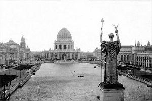 The Statue of the Republic overlooks the World's Columbian Exposition, Chicago 1893.