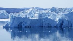 Giant icebergs floating in Ilulissat Kangerlua fjord in western Greenland.