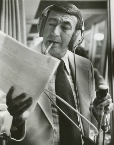Mr. Cosell hard at work in 1975.