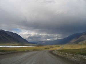 The desolate Dalton Highway, north of the Brooks Range in Alaska.