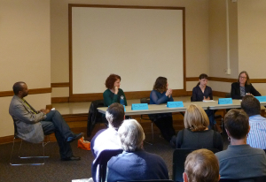 Seattle City Librarian Marcellus Turner listens to Lara Hamilton, Danielle Hulton, Debbie Sarow, and Christy Dawn