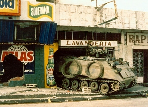 A US Army M113  armed personnel carrier occupies a local mall in Panama 1989.