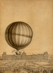 Jacques Charles and Nicolas-Louis Robert ascend over the Tuileries Palace in 1783 aboard the world's first hydrogen balloon.
