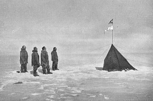 Amundsen and three of his comrades at the South Pole in 1911.