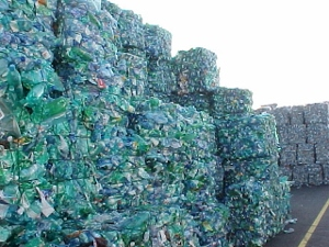 Bales of PET bottles bundled for recycling.
