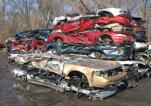 Crushed cars in a Maryland junkyard.