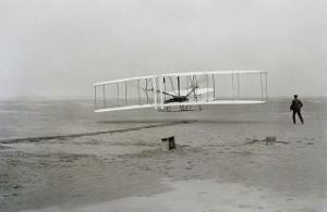Orville in flight, December 17, 1903.