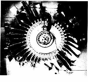 The cracked fan disc from the number 2 engine.
