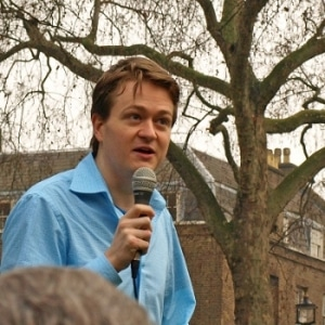 The author speaks out in London in 2011.
