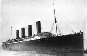 Lusitania coming into port.