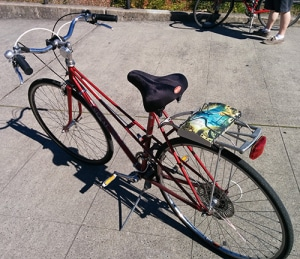 Bike with books on rack