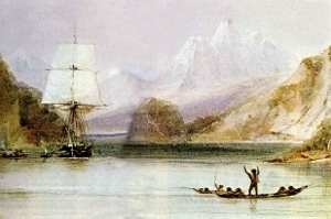 A painting of the HMS Beagle in Tierra del Fuego by Conrad Martens