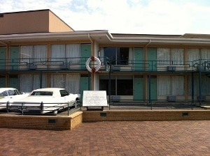 The balcony of the Lorraine Motel, now the site of the National Civil Rights Museum.