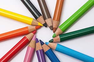 Rainbow of colored pencils