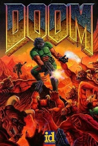 The original 1995 Ultimate Doom cover art. Also used as the first cover for Knee-Deep in the Dead.