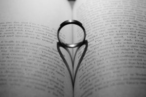 wedding ring in book