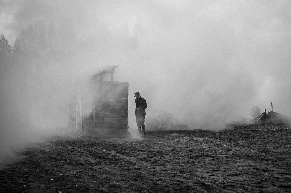 soldier on foggy battlefield