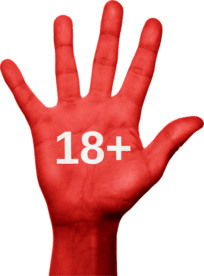 red hand with 18+ on palm