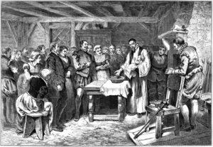 Lithograph - Baptism of Virginia Dare