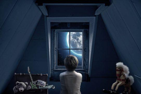 child in an attic