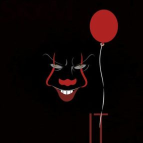 scary face with balloon