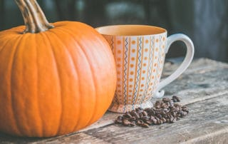 A mug sitting next to a pumpkin