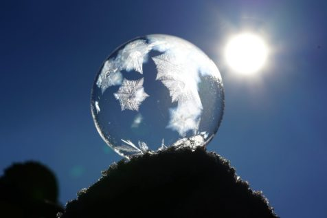 snowflake glass globe