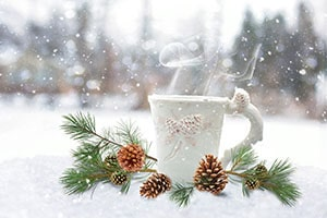 A mug and pinecones sitting in snow
