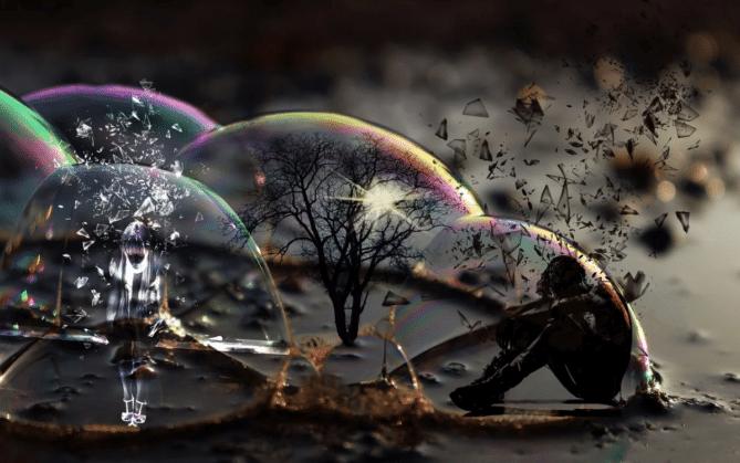 man in bubble