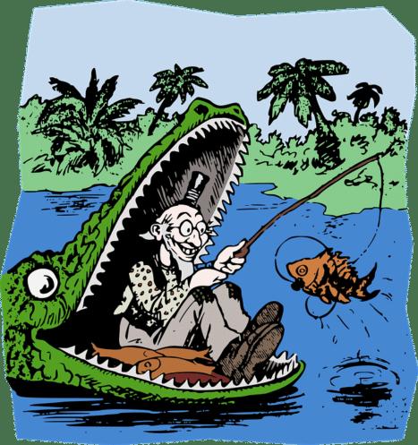 guy fishing from aligator mouth cartoon