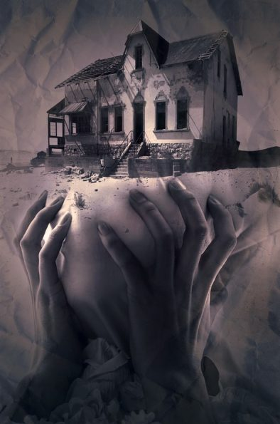 spooky house with hands