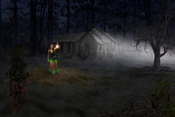 spooky woman with lantern