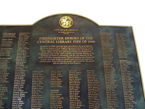 Plaque honoring firefighters from the 1986 fire.
