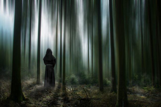 spooky figure in spooky woods