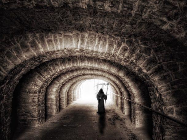 grim reaper in tunnel