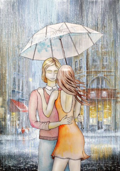 man and woman in rain illustration