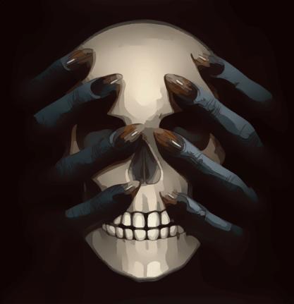 skull in hands
