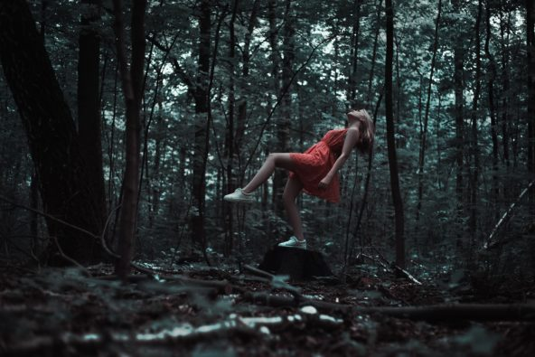 woman in the forest